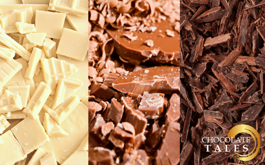 This image features different types of chocolate: white chocolate, milk chocolate and dark chocolate.